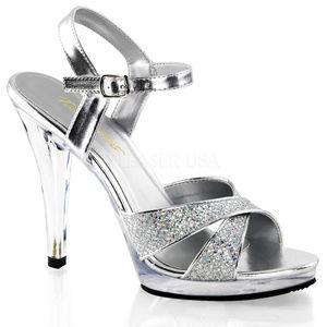Shoes - High Heel Platform Glitter Criss Cross Shoes